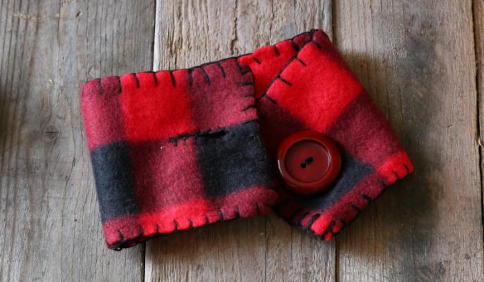Buffalo Check mason jar cozy with blanket stitching