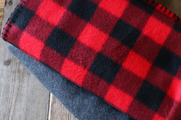 Buffalo check and plain gray fleece throws