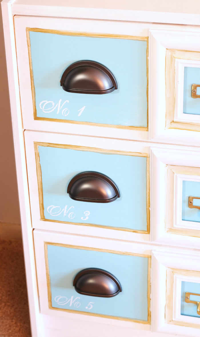 Faux apothecary cabinet Ikea Rast Hack DIY