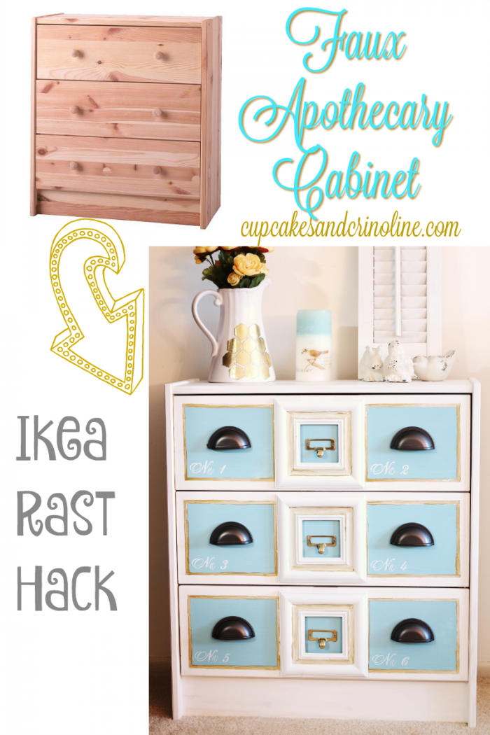 Faux apothecary cabinet an Ikea Rast Hack from cupcakesandcrinoline.com