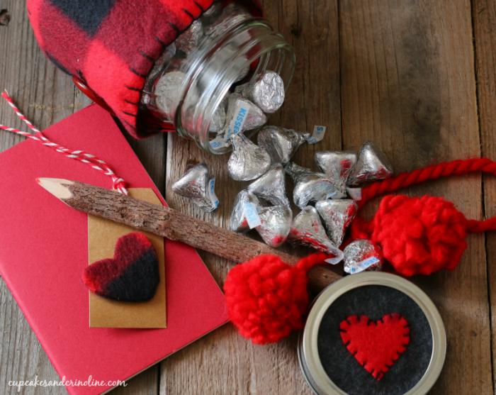 Buffalo check mason jar cozy - Valentine's Day Mason Jar - with red pom-poms and flannel heart cut outs - cupcakesandcrinoline.com