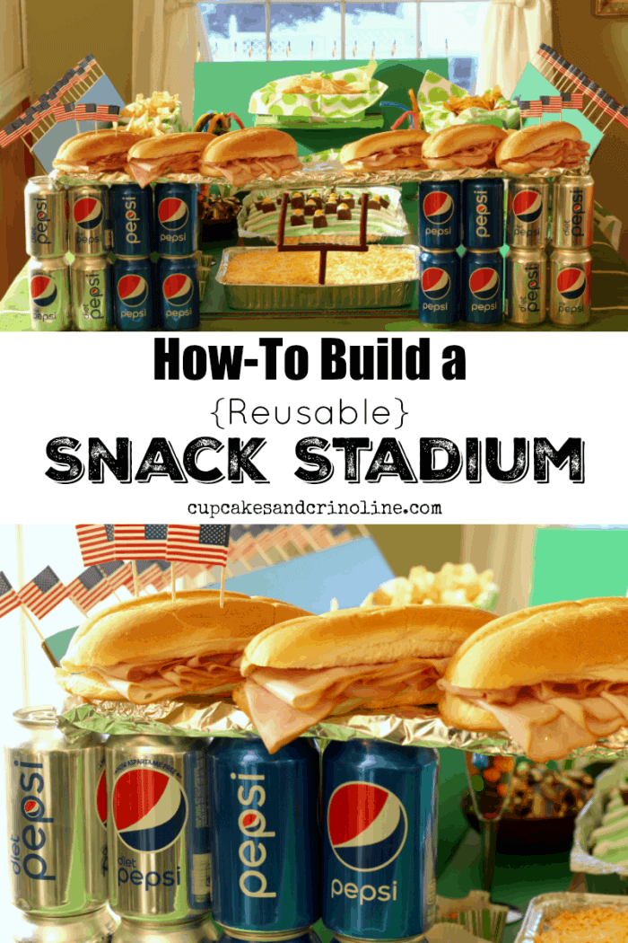 How to build a snack stadium - reusable and collapsible from cupcakesandcrinoline.com