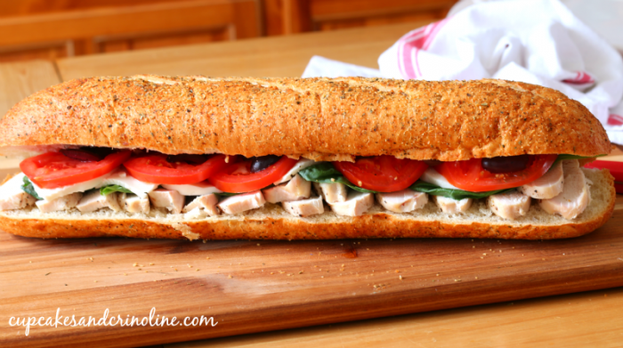 Make ahead chicken hoagie - a delicious crowd-pleasing sandwich. #deliciousgametime