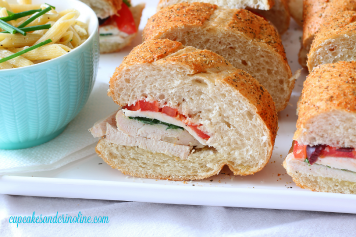 Make ahead chicken hoagies sliced and ready for serving. #deliciousgametime