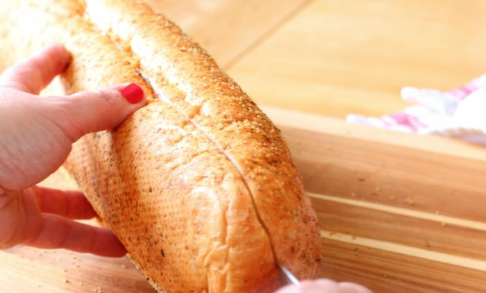 Slice fresh bread