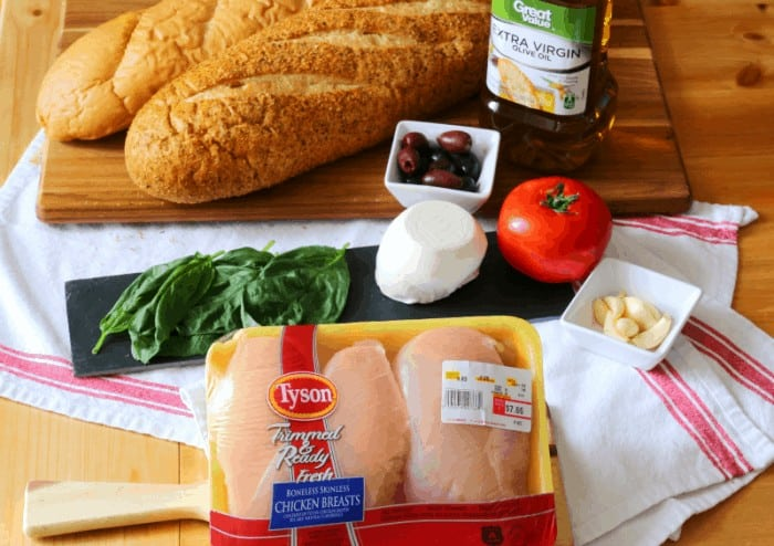 Tyson Trimmed & Ready Fresh Chicken Breasts with fresh baked bread and fixins' for hoagies #deliciousgametime