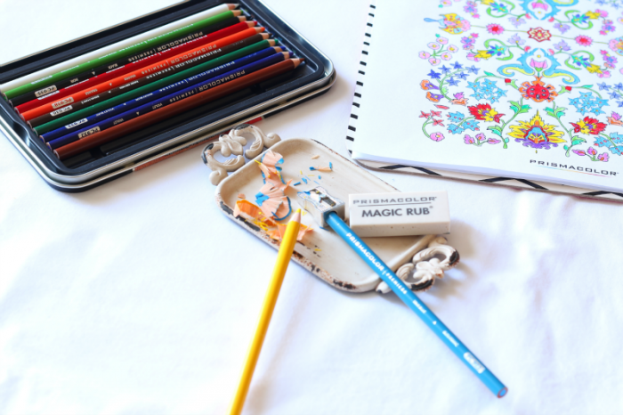 Adult coloring page and Prismacolor pencils