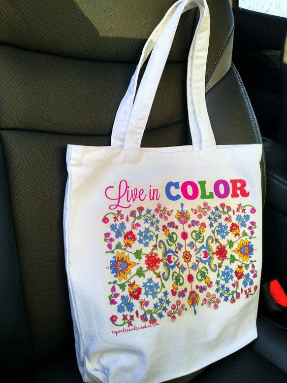 On the go with my adult coloring tote bag and coloring supplies - find out more at cupcakesandcrinoline.com