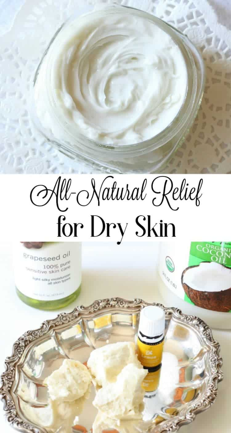 One of the best ways to treat dry skin is with this all natural whipped body butter made from coconut oil, grapeseed oil and shea butter.