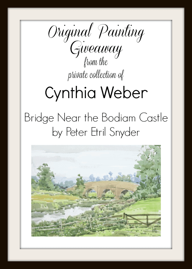Original painting giveaway from the private collection of Cynthia Weber - Bridge Near the Bodiam Castle by Peter Etril Snyder