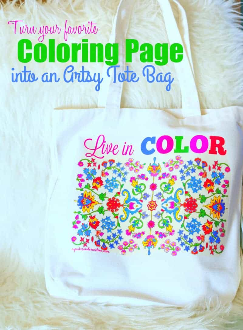 Turn your favorite coloring page into an artsy tote bag