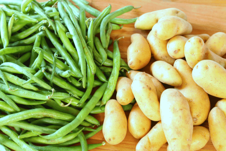 Fresh green beans and fingerling potatoes