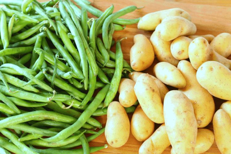 Fresh green beans and fingerling potatoes