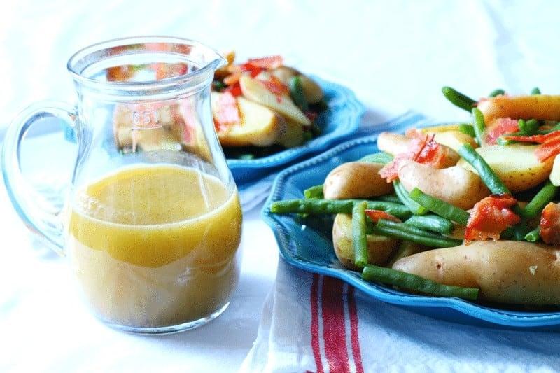 Honey, Dijon Mustard, Olive oil and White Wine Vinegar Hot Bacon and Potato Salad Dressing at cupcakesandcrinoline.com
