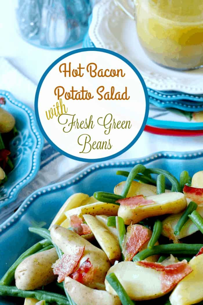 Green beans with bacon and potatoes with a Dijon mustard dressing at cupcakesandcrinoline.com