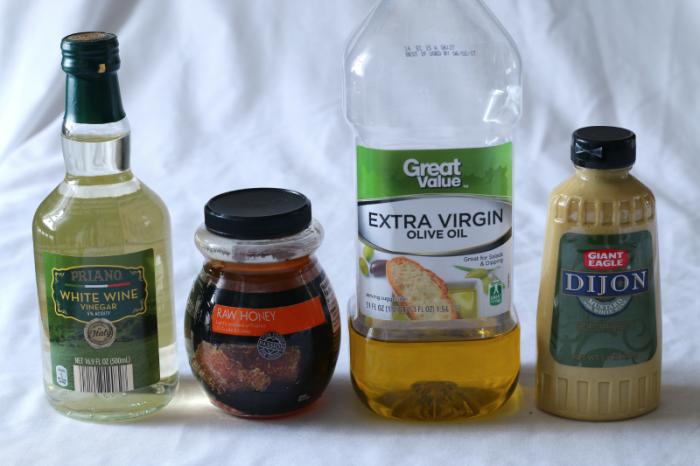 Ingredients, hot bacon potato salad dressing