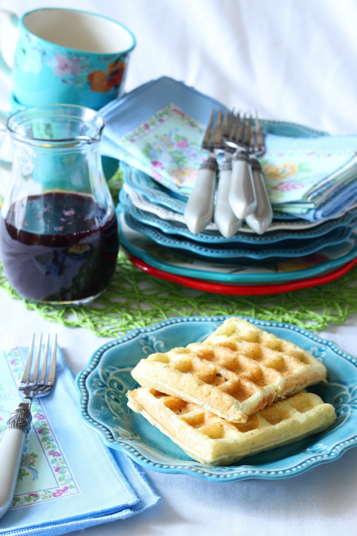 Lemon Poppy Seed Waffles with fresh blackberry syrup - recipe at cupcakesandcrinoline.com