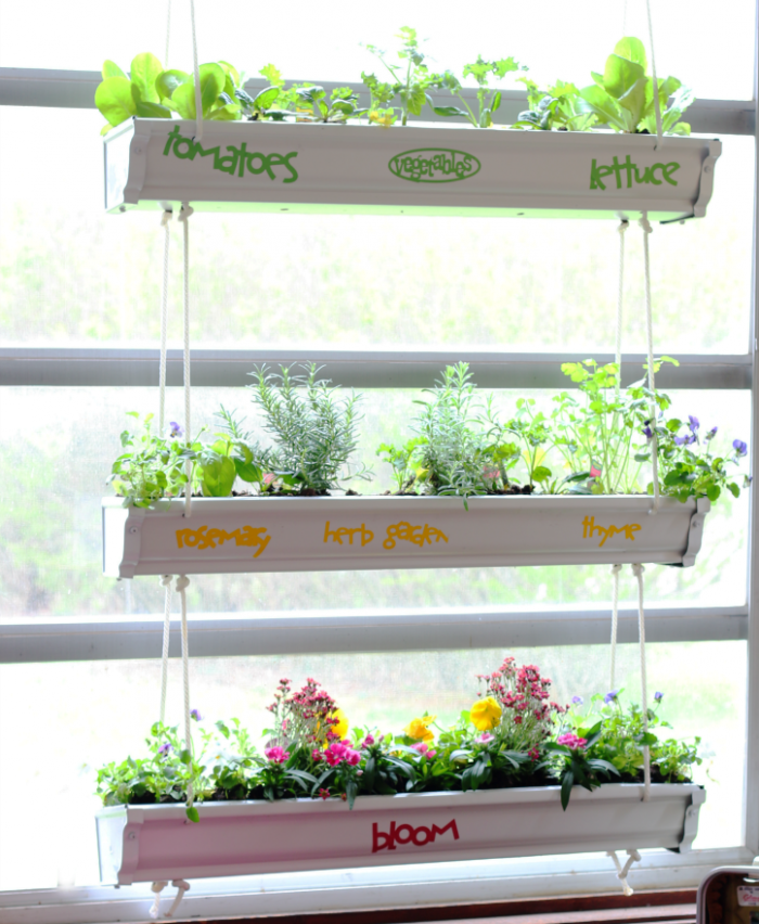 Hanging Gutter Planter DIY at cupcakesandcrinoline.com
