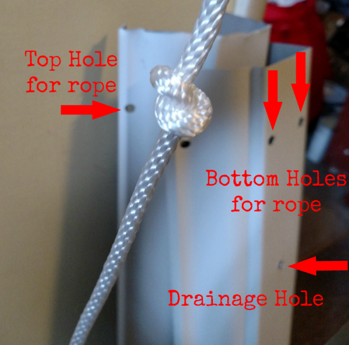Hanging Gutter - visual of drilled holes