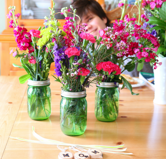 Mason Jar Bouquets and JB at cupcakesandcrinoline.com
