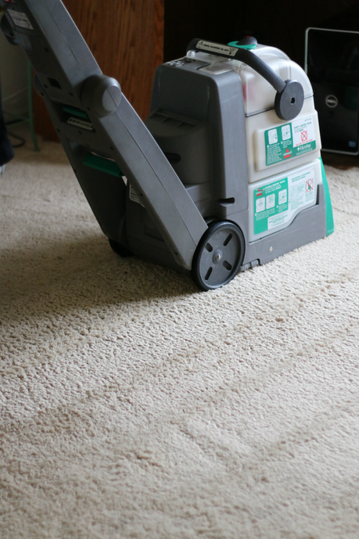BISSELL Big Green in action - results versus Rug Doctor at cupcakesandcrinoline.com
