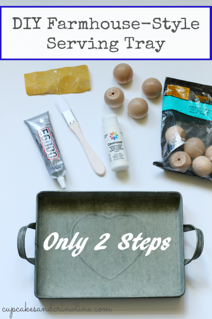 DIY Farmhouse-Style Serving Tray in only two easy steps from cupcakesandcrinoline.com