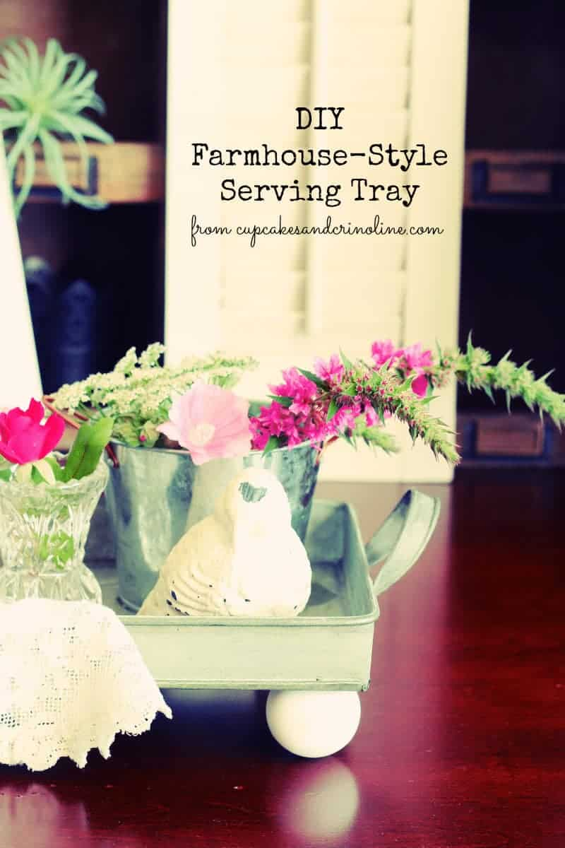 DIY Farmhouse-Style serving tray. Get the full tutorial on this easy DIY at cupcakesandcrinoline.com
