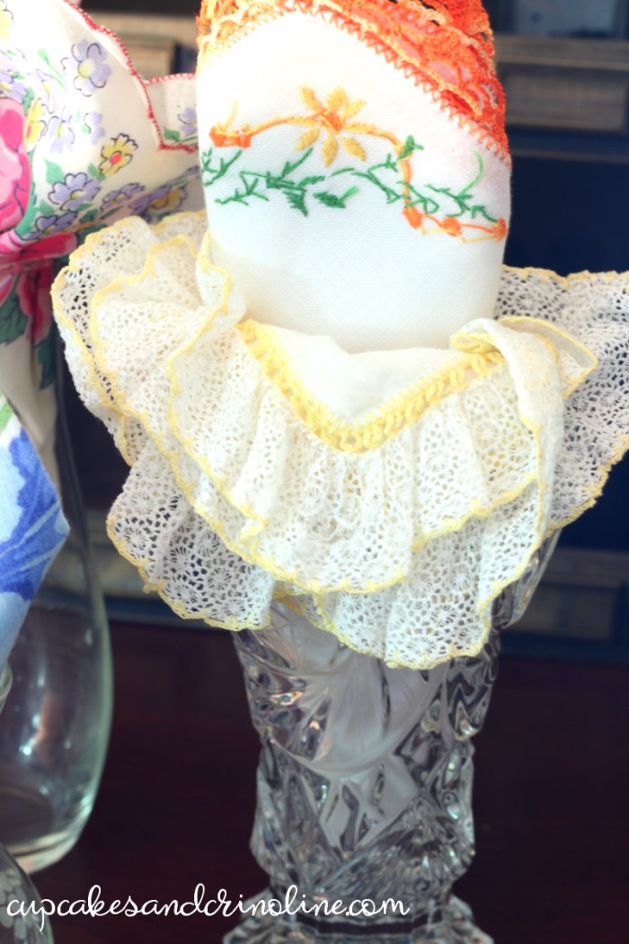 Decorating with vintage handkerchiefs