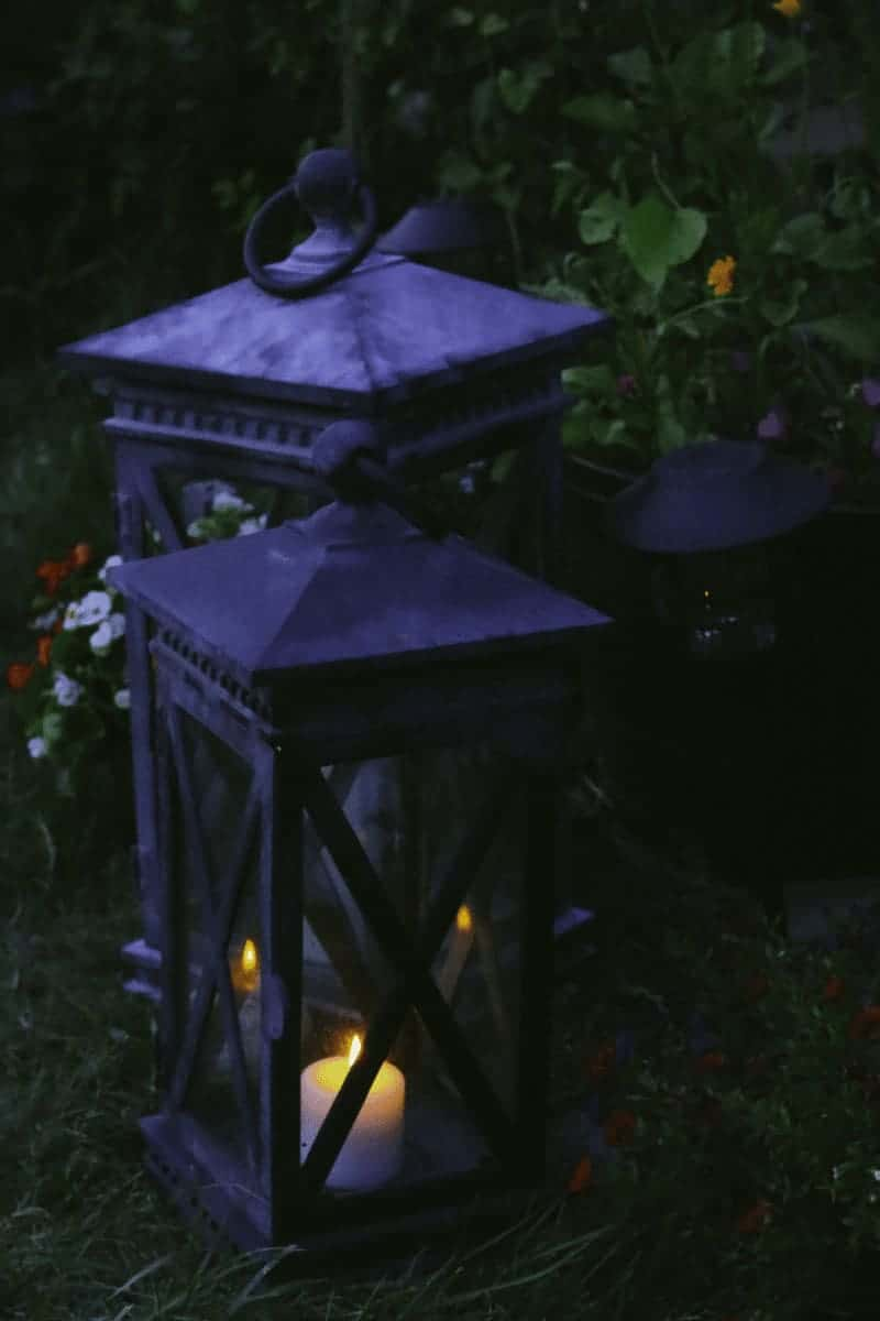 Outdoor lanterns on the lawn