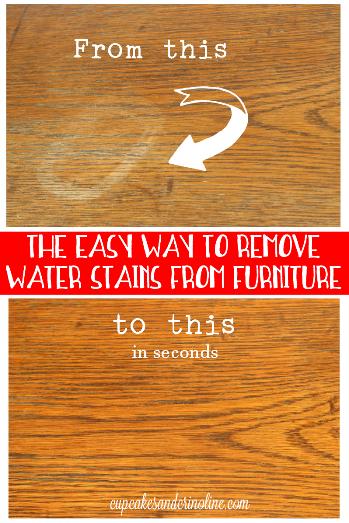 Before and After comparison - how to remove a water stain from wood