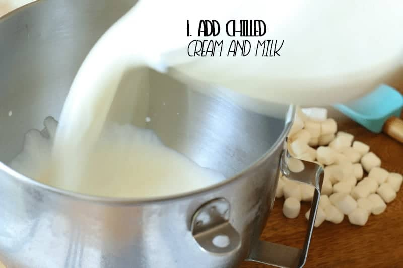 Add Chilled Cream and Milk to Mixing Bowl