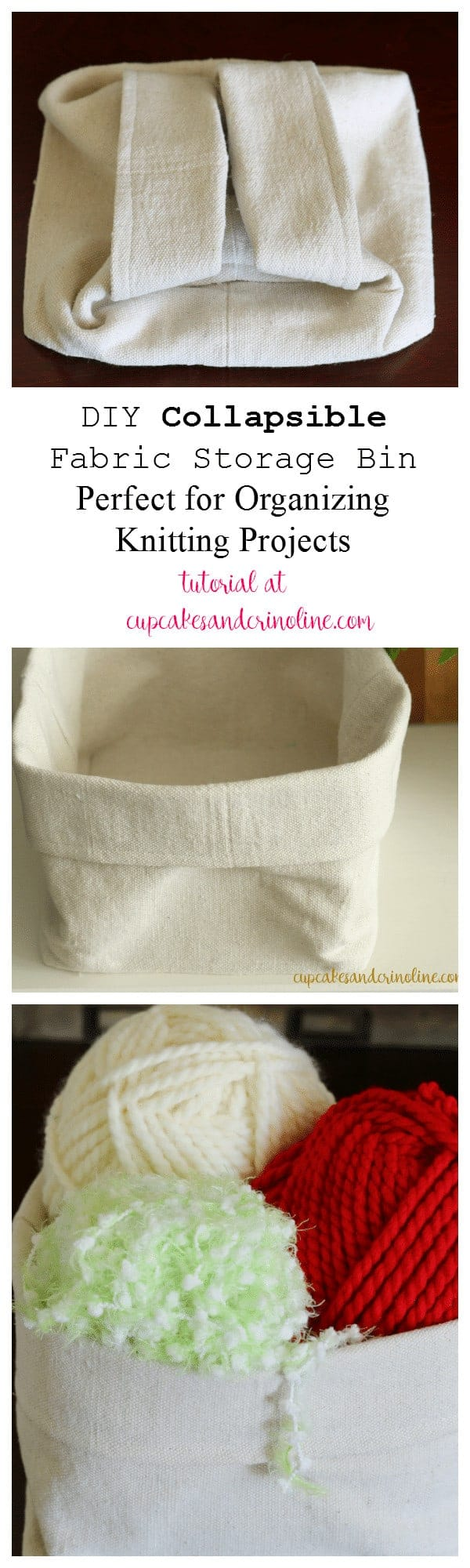 DIY Collapsible Fabric Storage Bin - Perfect for Organizing Knitting Projects - tutorial at cupcakesandcrinoline.com