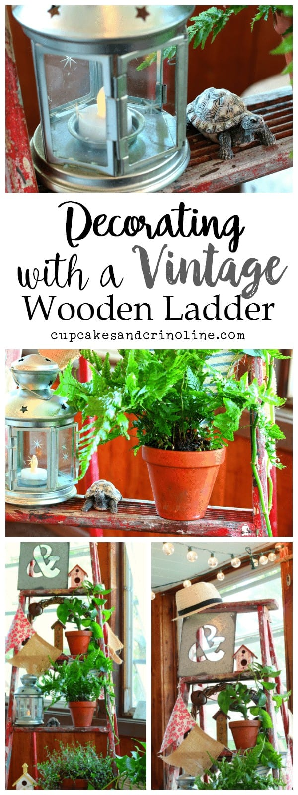 Decorating with a Vintage wooden ladder - more photos and ideas at cupcakesandcrinoline.com