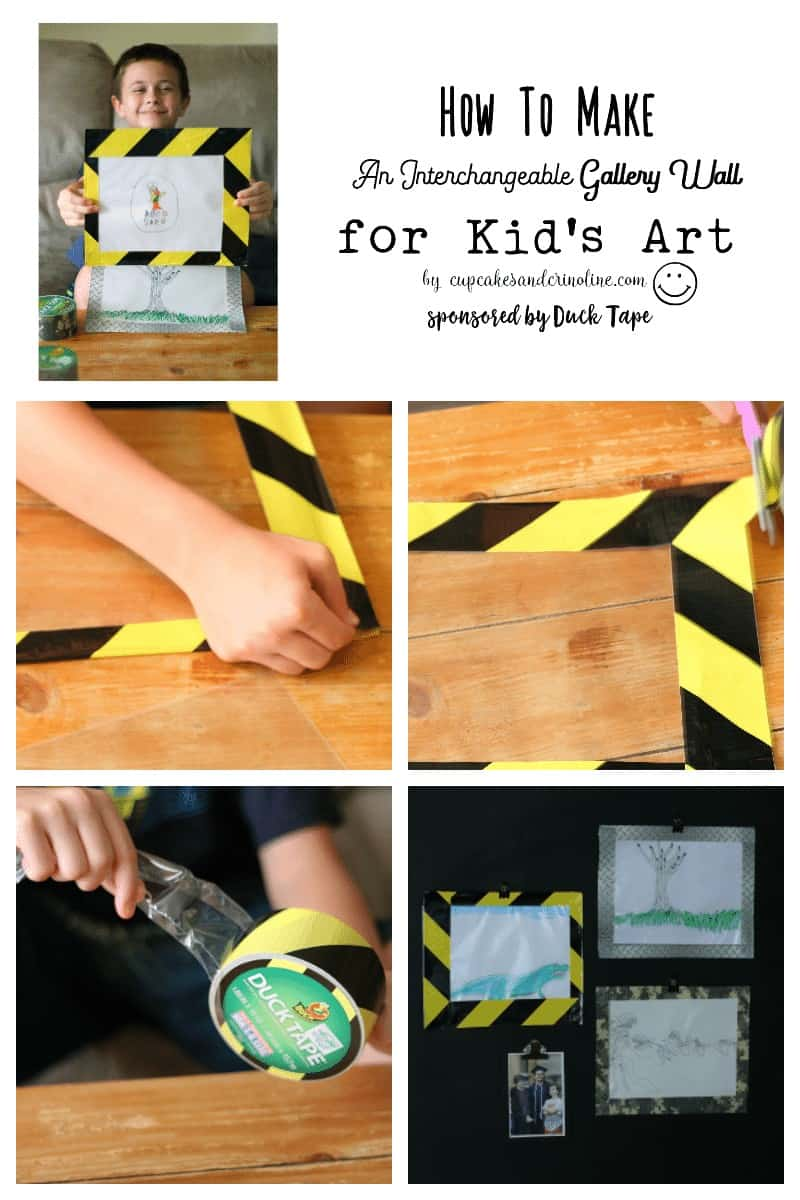 How to Make an interchangeable gallery wall for kid's artwork with Duck Tape