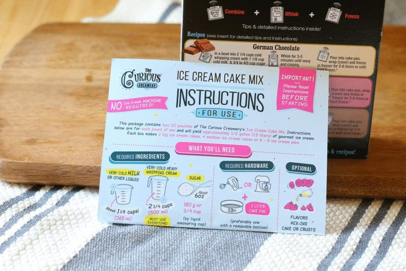 Ice Cream Cake Mix Instructions for use - The Curious Creamery