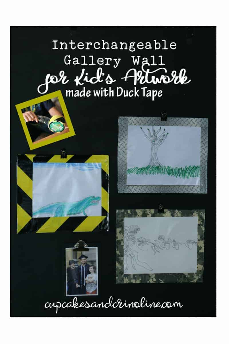 Interchangeable Gallery Wall for Kid's Artwork made with Duck Tape at cupcakesandcrinoline.com