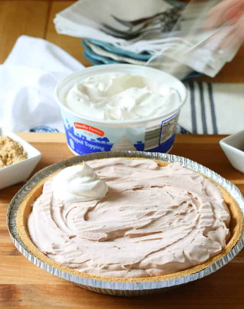 S'Mores Ice Cream Pie - add dollops of whipped topping
