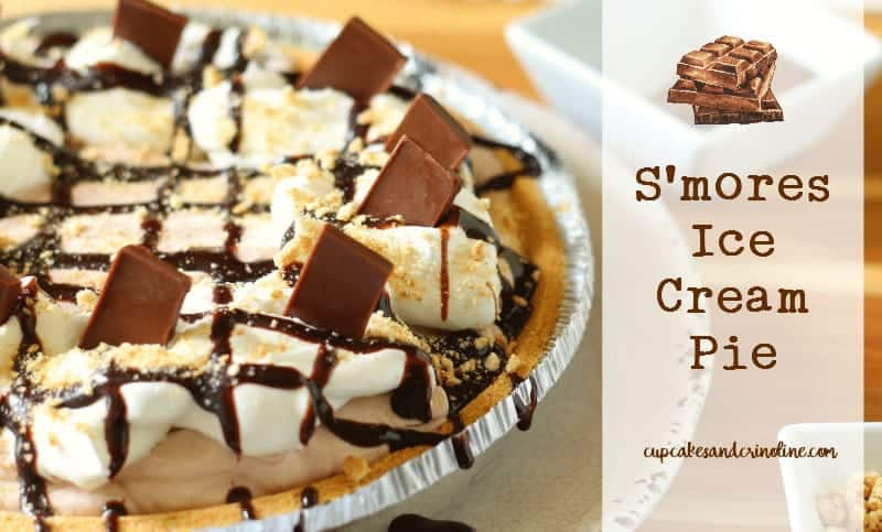 S'mores Ice Cream Pie - easy to make in less than 3 hours with no-churn ice cream. Get the full recipe at cupcakesandcrinoline.com