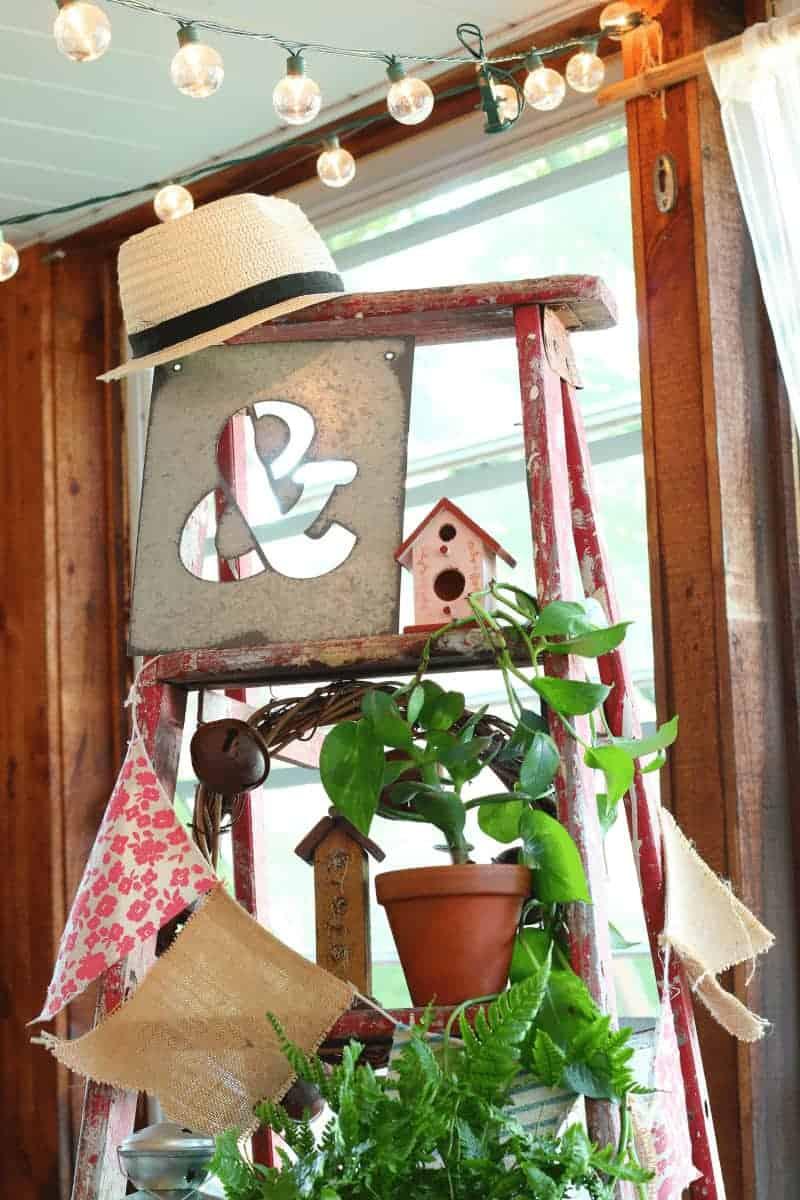 Vintage Wooden Ladder Decorating