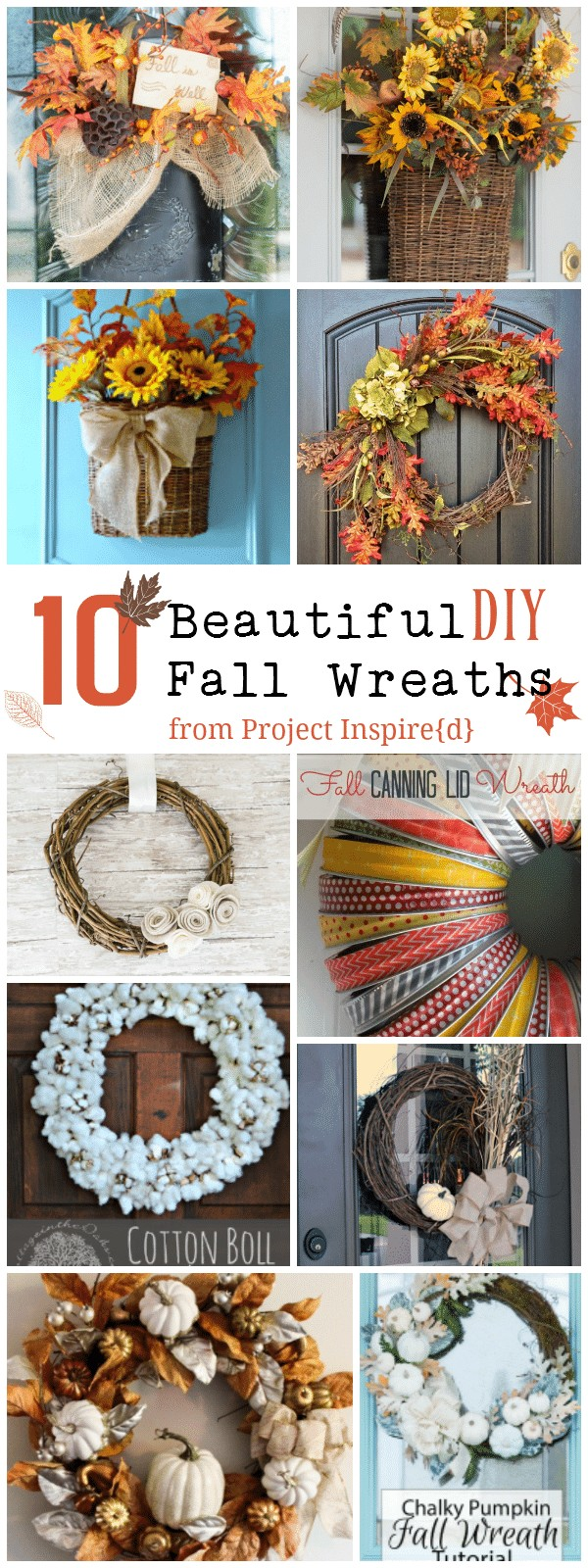 10 beautiful DIY fall wreaths from project inspired at cupcakesandcrinoline.com