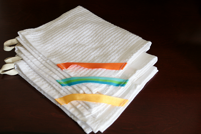Barmop cleaning towels with leather loops added.