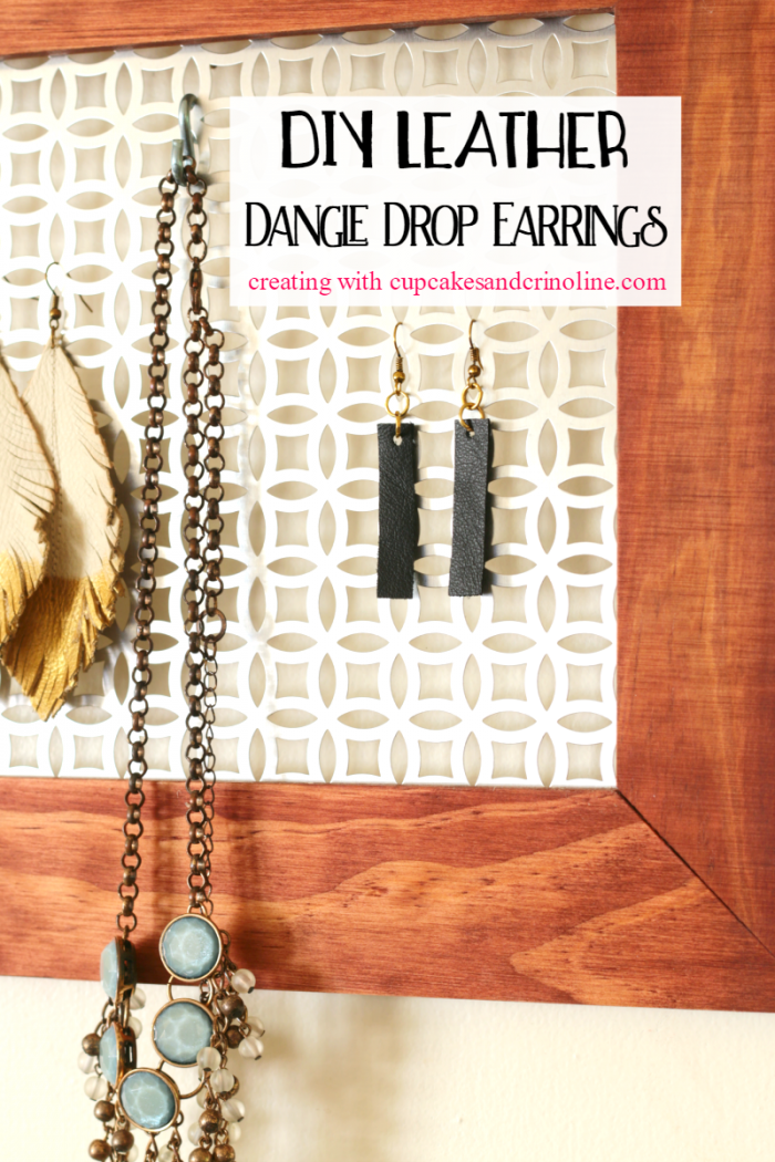 Black leather dangle drop earrings inspired by Joanna Gaines - creating with www.cupcakesandcrinoline.com