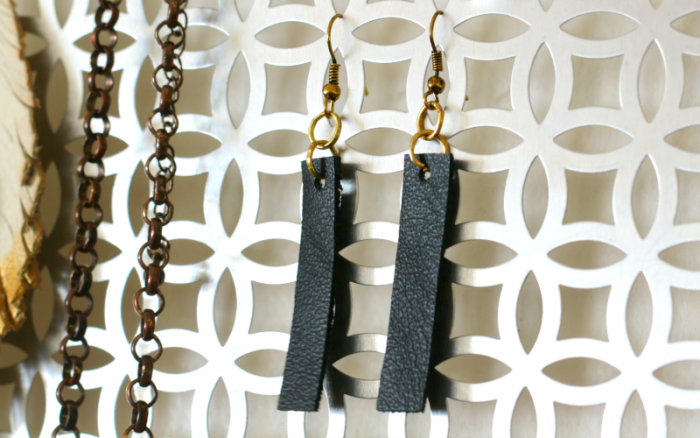 DIY black leather dangle drop earrings inspired by Joanna Gaines - www.cupcakesandcrinoline.com