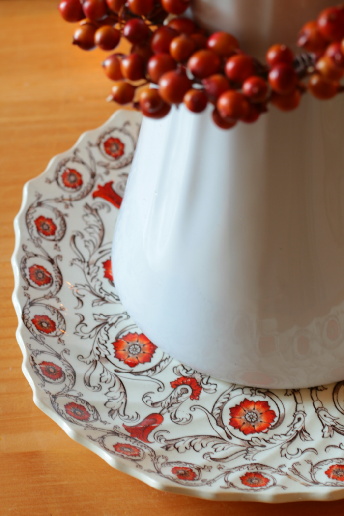 Autumn Home Decor Tour 2016 - White Ironstone on Spode Plate. www.cupcakesandcrinoline.com