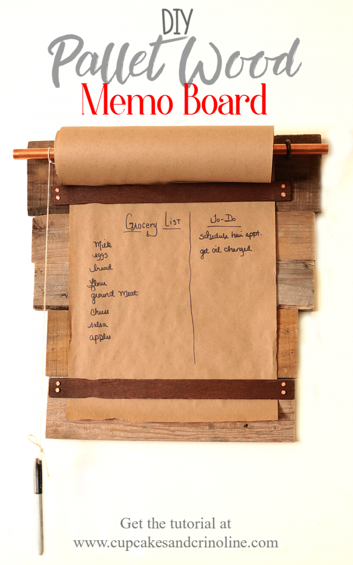 Farmhouse style DIY pallet wood memo board. Get the tutorial at www.cupcakesandcrinoline.com