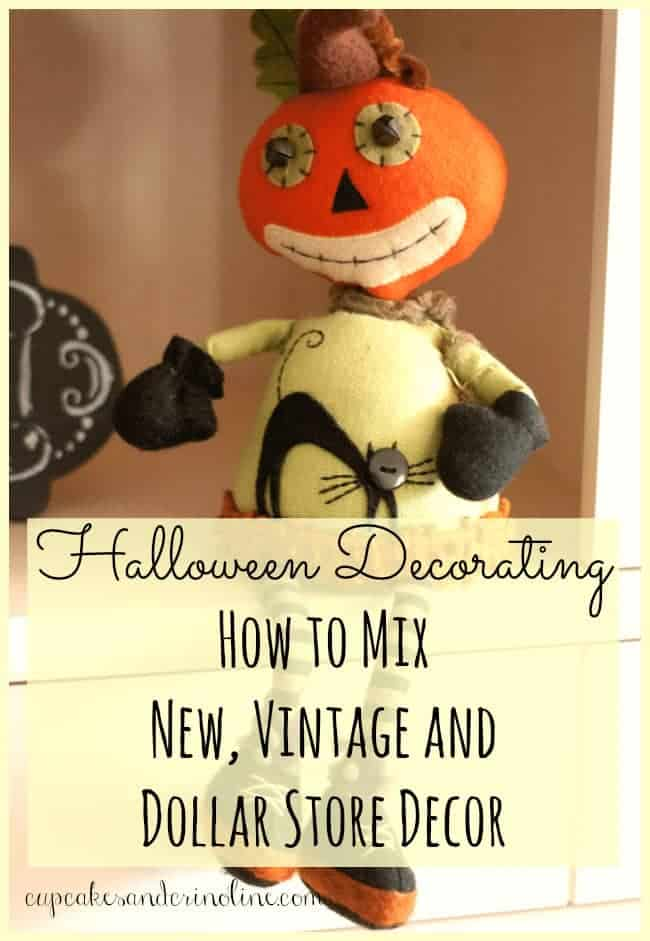Halloween Decorating - How to mix new, vintage and dollar store decor for a look you love! get the details at www.cupcakesandcrinoline.com