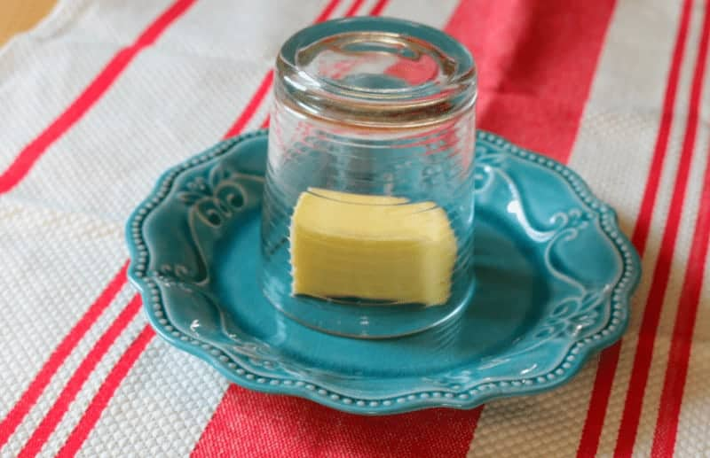 How to soften butter quickly - butter under glass.