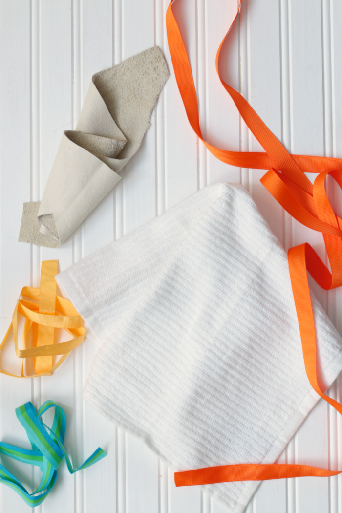 DIY leather-looped cleaning towels - supplies