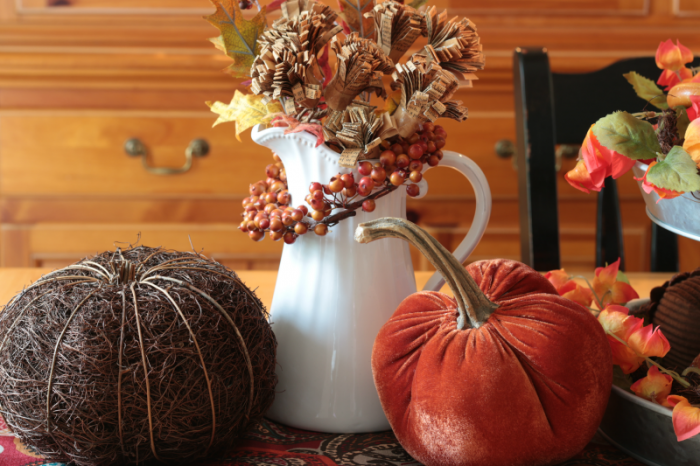Velvet pumpkin, twig pumpkin and Ironstone pitcher decorated for fall. Autumn Home Tour 2016. www.cupcakesandcrinoline.com