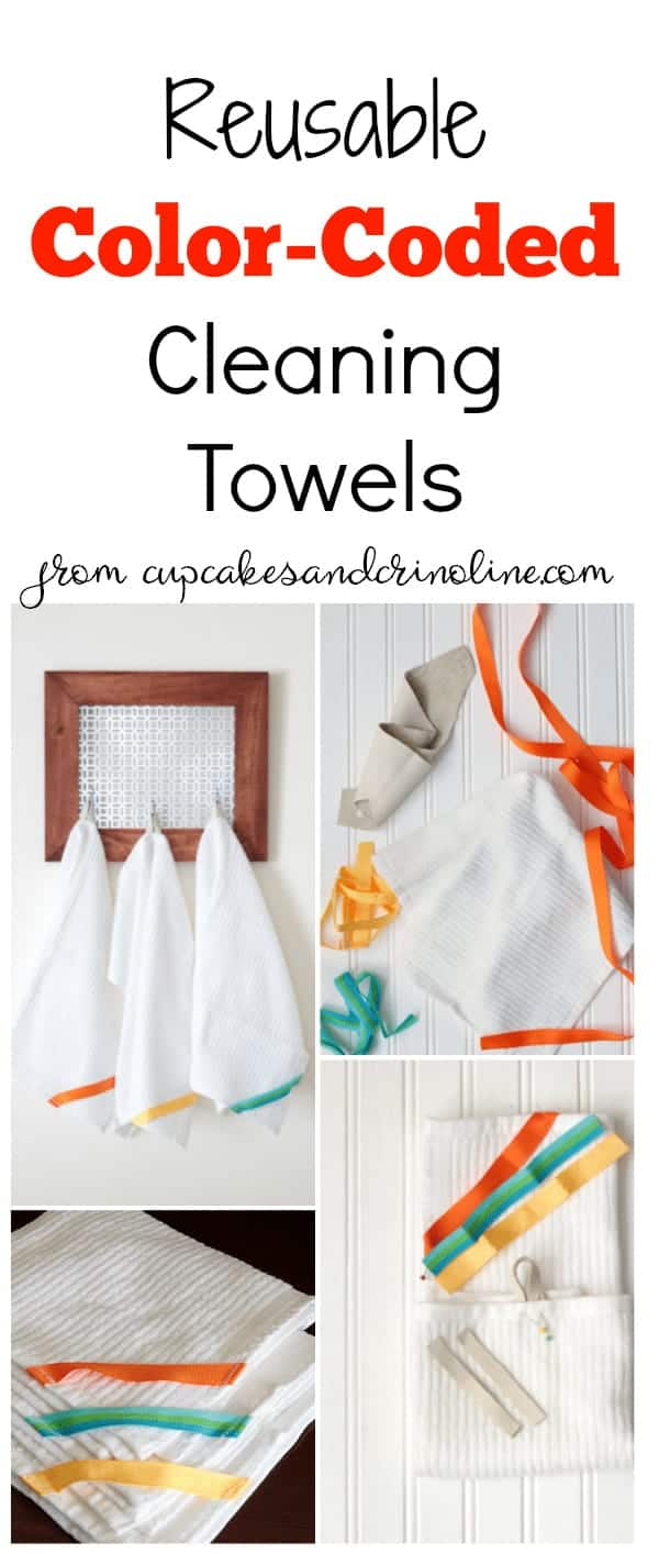 Reusable color-coded cleaning towels. www.cupcakesandcrinoline.com